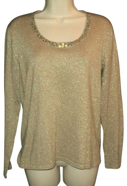 Item - Metallic Threads Beaded Sequined Neckline Accent Stretchy Tan/Gold Sweater