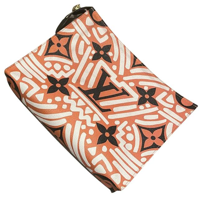 Item - Po. Toilet .26 Cra.ccn Black Rusty Orange and White Coated Fabric Cowhide Leather Trim Man Made Lining Clutch