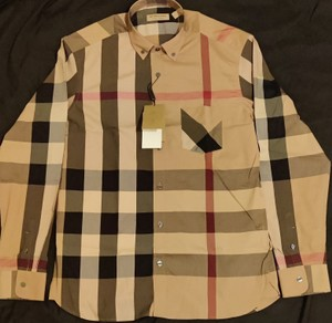 Burberry Camel Men's Check-print Shirt