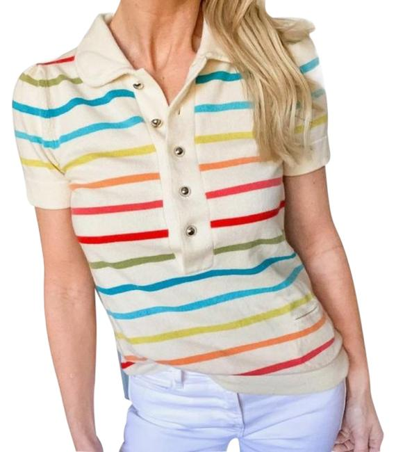 Item - Cashmere Rainbow Stripe Polo Cream Red Sweater