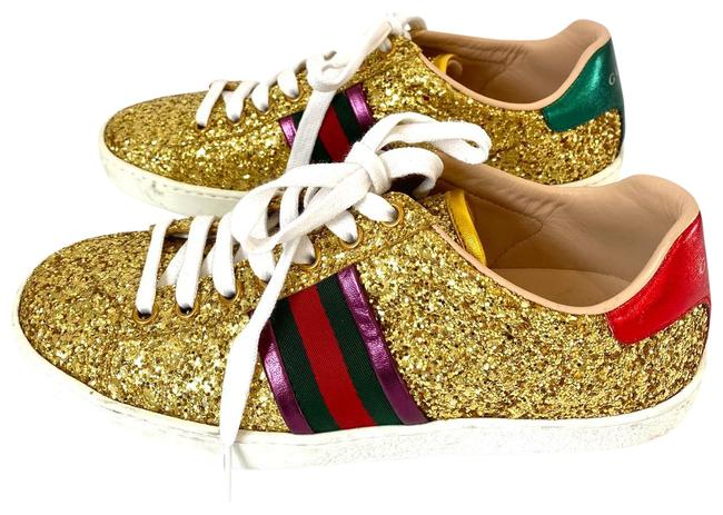 Item - Gold Glitter Leather Ace Sneakers Size EU 36 (Approx. US 6) Regular (M, B)