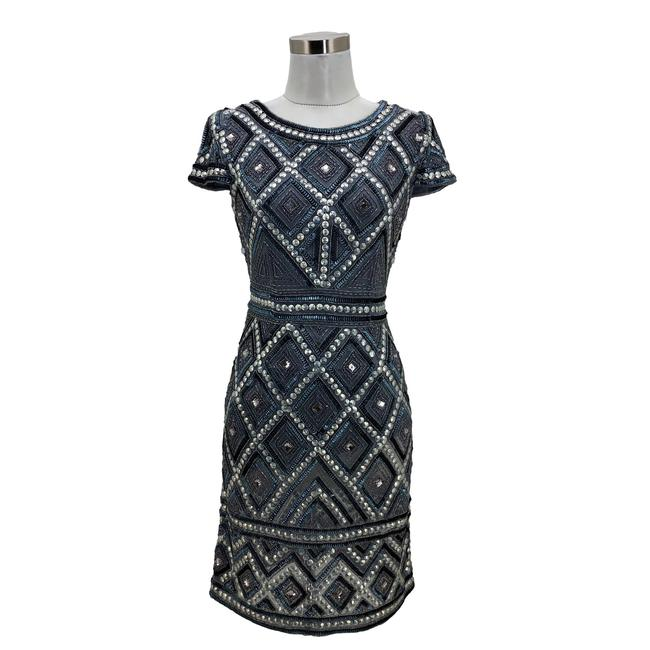 Adrianna Papell Gray XS N843 New Designer Blue Sequin Beaded Sheath Mid-length Formal Dress Size 0 (XS) Adrianna Papell Gray XS N843 New Designer Blue Sequin Beaded Sheath Mid-length Formal Dress Size 0 (XS) Image 1