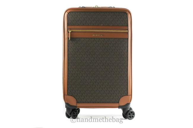 Item - Signature Luggage Trolley Rolling Suitcase Carry On Brown Pvc W/ Leather Trim Weekend/Travel Bag