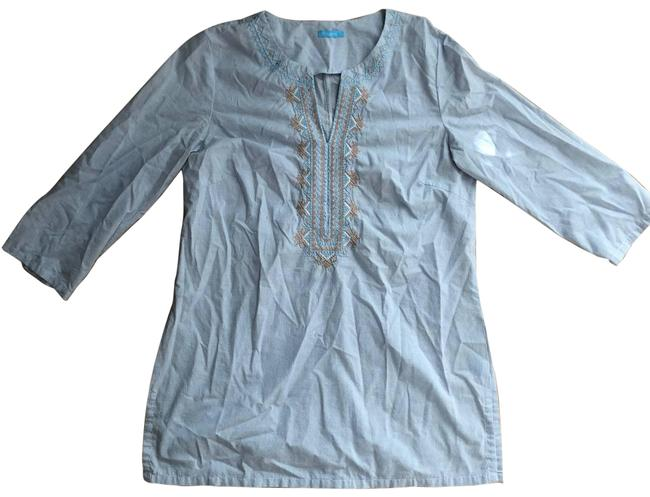 Item - Blue Embroidered Check Split Cotton Small Tunic Size 6 (S)