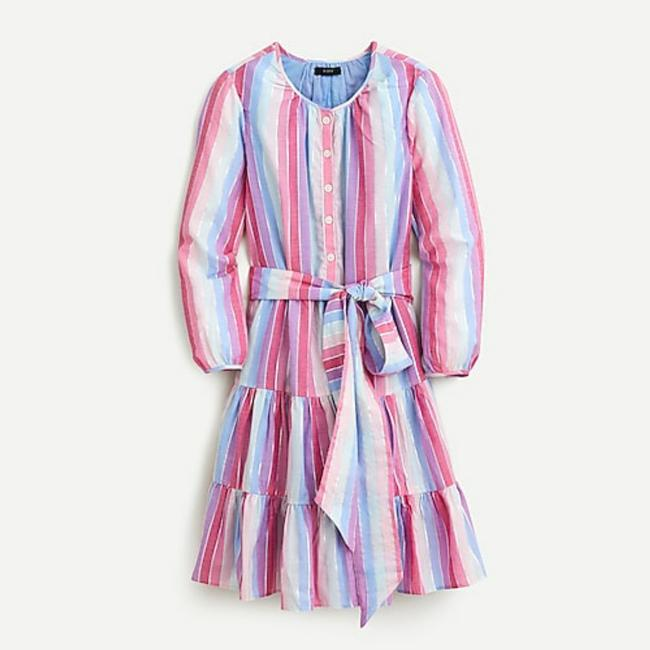 Item - Purple Pink Multi Belted Button-up In Pastel Stripe Mid-length Work/Office Dress Size 12 (L)
