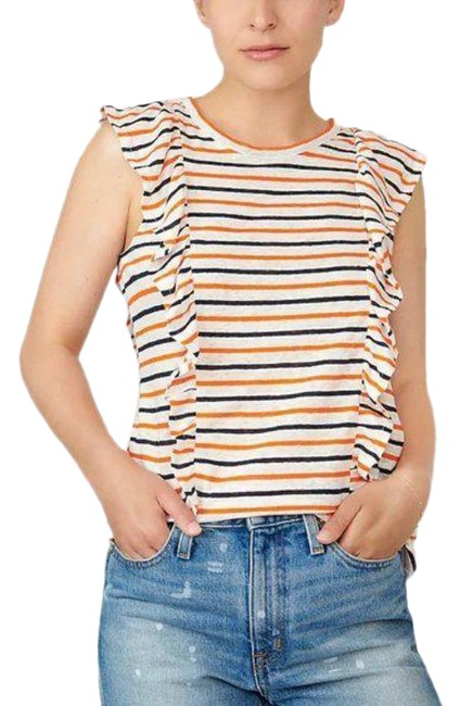 Item - Orange Cream Ruffle In Linen In Stripe Tank Top/Cami Size 16 (XL, Plus 0x)