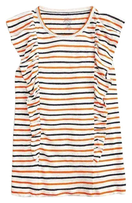 Item - Orange Cream Ruffle In Linen In Stripe Tank Top/Cami Size 8 (M)