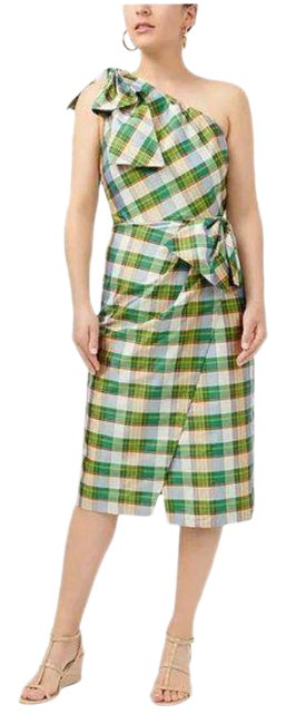 J.Crew Green Yellow One-shoulder In Plaid Mid-length Cocktail Dress Size 10 (M) J.Crew Green Yellow One-shoulder In Plaid Mid-length Cocktail Dress Size 10 (M) Image 1
