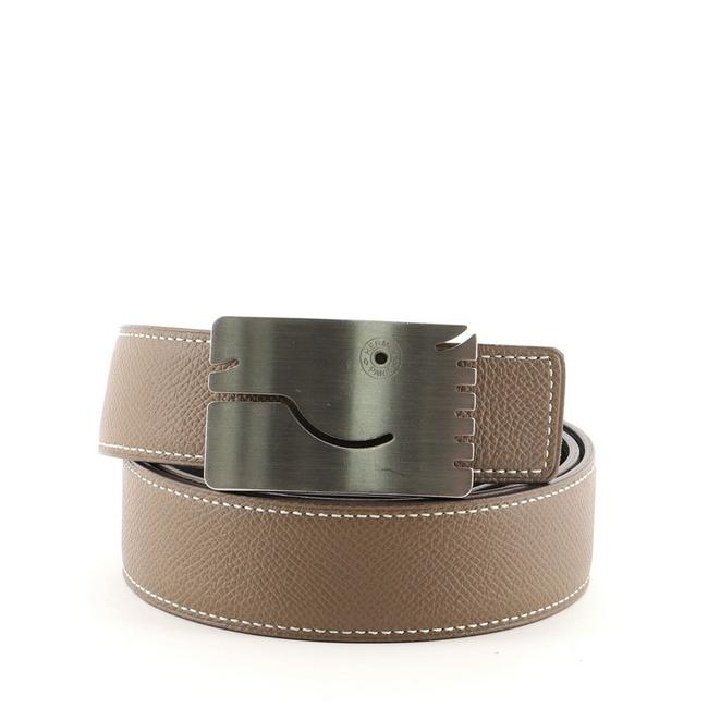 Item - Gray A Cheval Reversible Leather Thin Belt