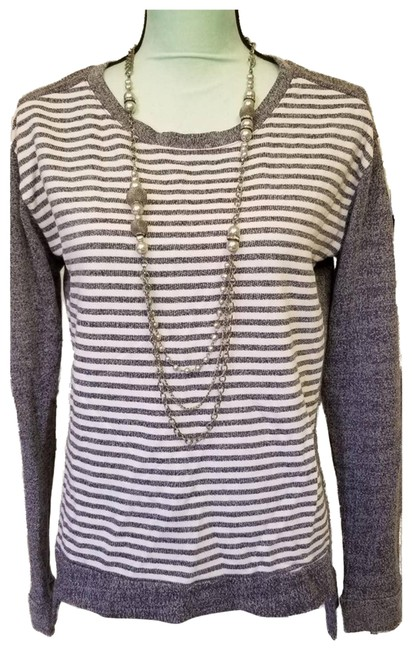 Item - Ladies Striped Hi M Gray Sweater