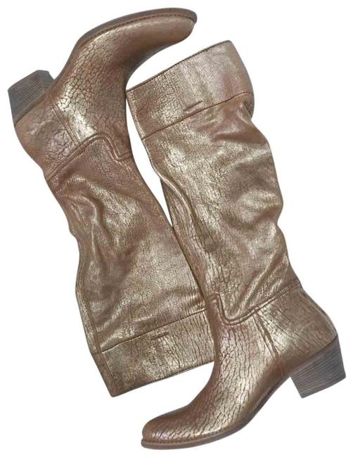 Item - Gold Brown Cracked Leather Western Riding Boots/Booties Size EU 38.5 (Approx. US 8.5) Regular (M, B)