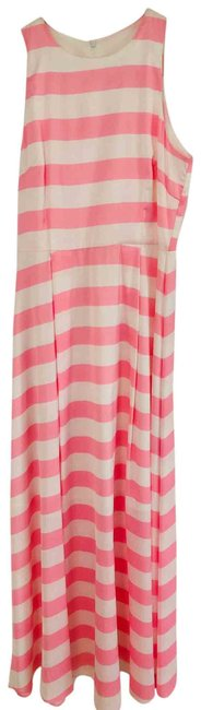 Item - Pink and White Silk Long Casual Maxi Dress Size 8 (M)