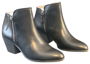 Frye Zip Leather Ankle Black Boots