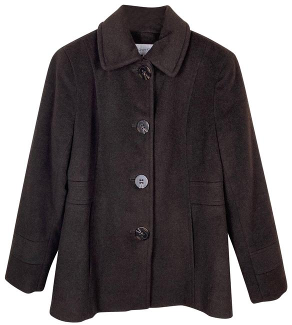 Item - Brown 6p Wool Blend Tortoiseshell Single-breasted Coat Size Petite 6 (S)
