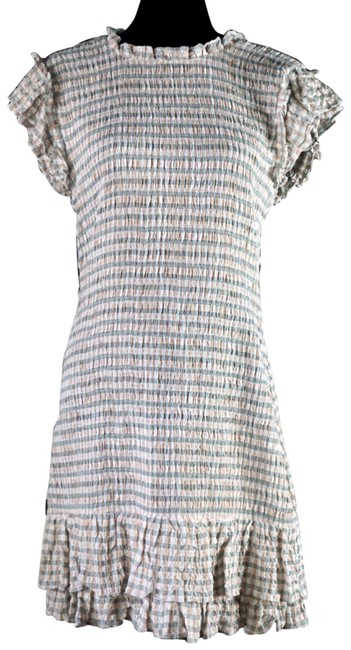 Item - Beige & Green Cici Smocked Ruffled New Short Casual Dress Size 10 (M)
