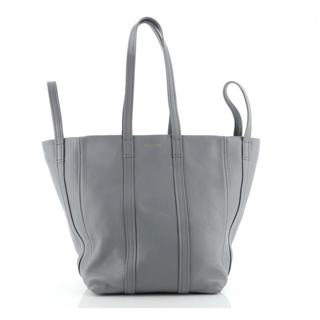 Item - Cabas Laundry Small Gray Leather Tote