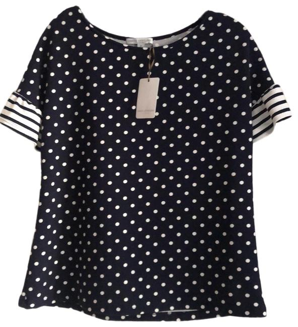 Item - Navy and White Polka Dotted Tunic Size 8 (M)