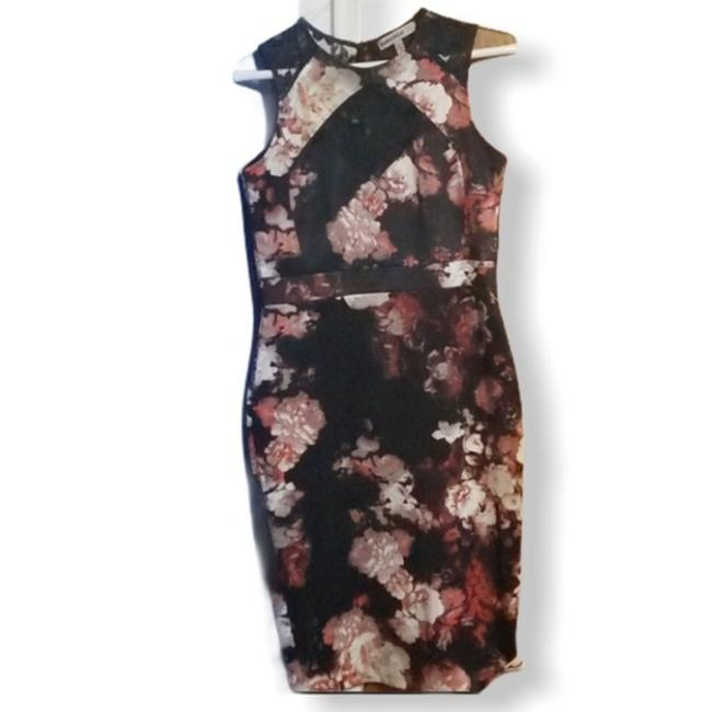 Item - Black & Pink Floral Lace Insets Short Cocktail Dress Size 8 (M)