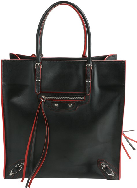 Item - Papier A5 Zip Around Black/Red Leather Tote