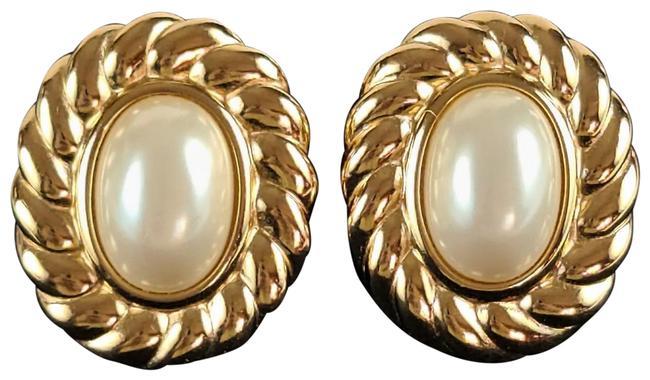 Item - Gold Plated Faux Pearl Clip On Exquisite Earrings