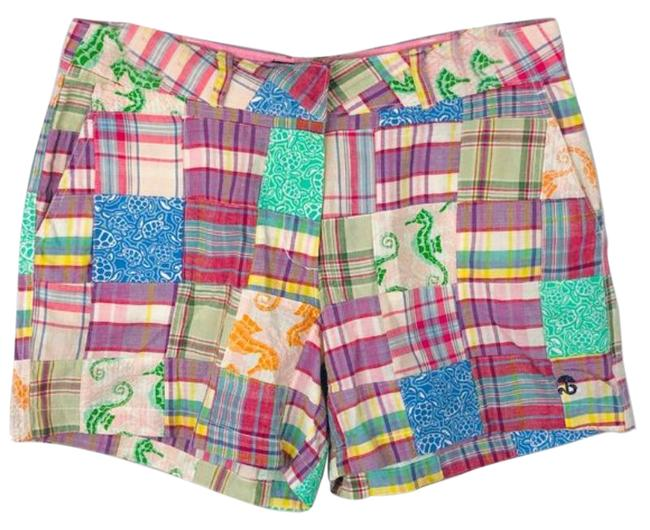 Item - Pink Green Casual Colorful Patchwork Shorts Size 2 (XS, 26)