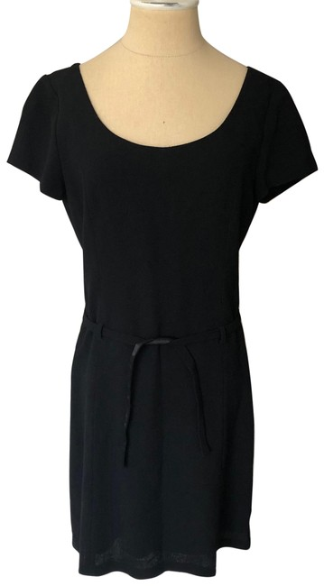 Item - Black Short Sleeve Belted Scoop Neck Wool Work/Office Dress Size 4 (S)