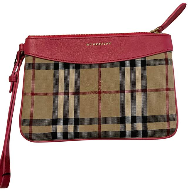 Item - Women's Natural Horseferry Check Pouch Bright Crimson Pink Leather Wristlet