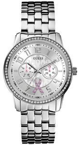 Guess Guess W0032L1 Women's Silver Analog Watch With Silver Dial