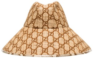 Item - Ivory Brown Gg Watersnake-trimmed Embroidered Raffia Small Hat