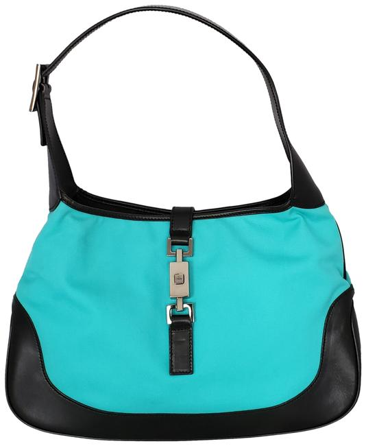 Item - Jackie Turquoise Leather & Canvas Hobo Bag