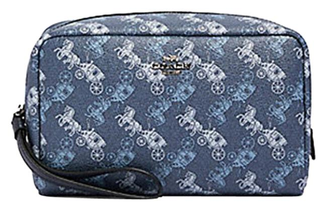 Item - Indigo Pale Blue Multi 528 Boxy with Horse and Carriage Print Cosmetic Bag