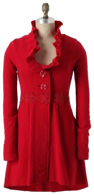 Anthropologie Raspberry Red Alice In Autumn Sweater M By Charlie & Robin Coat Size 8 (M) Anthropologie Raspberry Red Alice In Autumn Sweater M By Charlie & Robin Coat Size 8 (M) Image 1