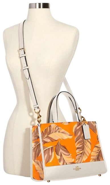 Item - Tote Carryall Dempsey Orange White Leather Cross Body Bag
