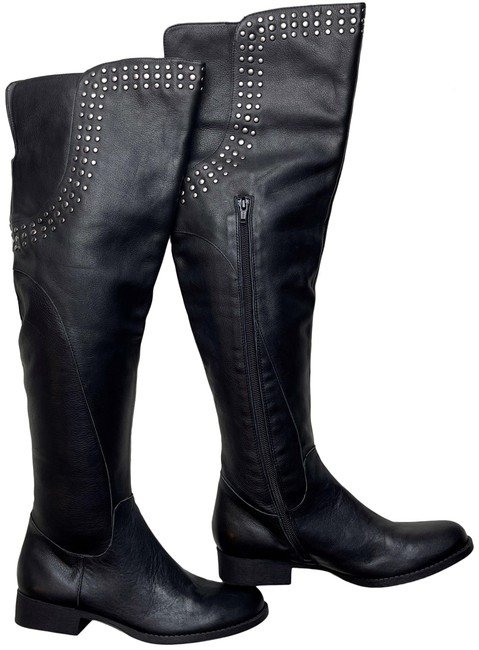 Item - Black Thunder Road Studded Leather Over The Knee Boots/Booties Size US 6.5 Regular (M, B)