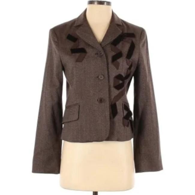 Item - Cream Brown Wool Blend Ribbon Accent Blazer Size 4 (S)