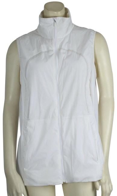 Item - White Nylon Sleeveless Zipper Jacket Vest Size 8 (M)