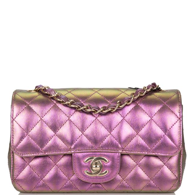 Chanel Classic Flap Iridescent Quilted Rectangular Mini Purple Lambskin Leather Cross Body Bag Chanel Classic Flap Iridescent Quilted Rectangular Mini Purple Lambskin Leather Cross Body Bag Image 1