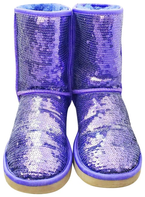 Item - Purple 3161 Sequin Classic Lined Boots/Booties Size US 7 Regular (M, B)