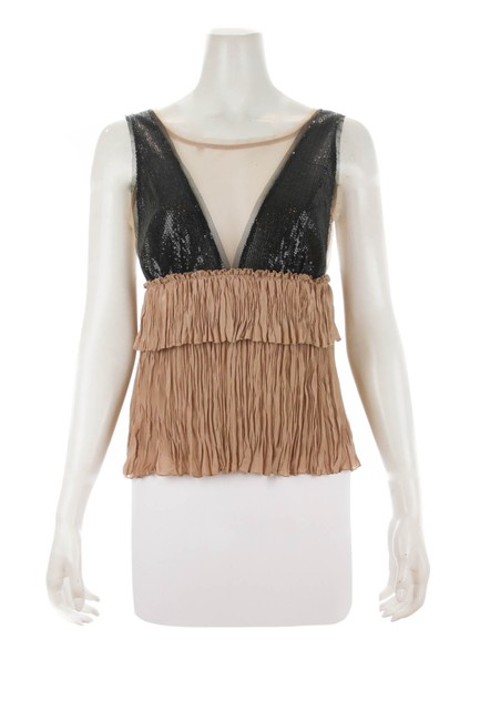 Item - And Ruffled Size Small Black & Beige Top