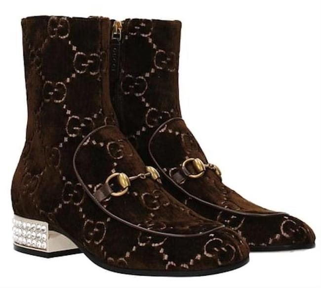 Item - Brown Horsebit Gg Velvet Ankle Boots/ with Crystal Boots/Booties Size EU 38.5 (Approx. US 8.5) Regular (M, B)