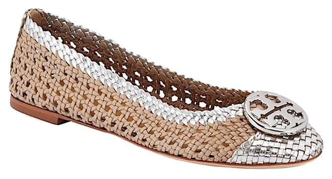 Item - Natural/Silver New Chelsea Woven Metallic Leather Ballet Flats Size US 6.5 Regular (M, B)