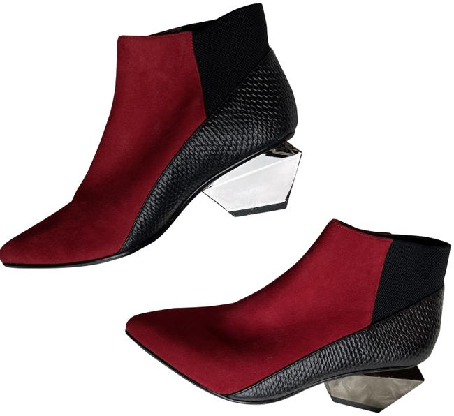 Item - Black and Red Textured Ankle Mirrored Heel Boots/Booties Size EU 37 (Approx. US 7) Regular (M, B)