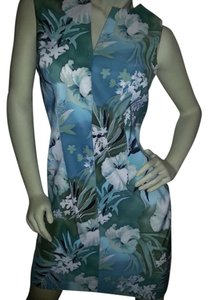 Connected Apparel short dress multi-color floral light blues, grays, greens, white on Tradesy