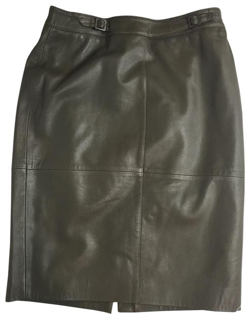 Item - Olive Green Belted Genuine Leather Midi Skirt Size 8 (M, 29, 30)