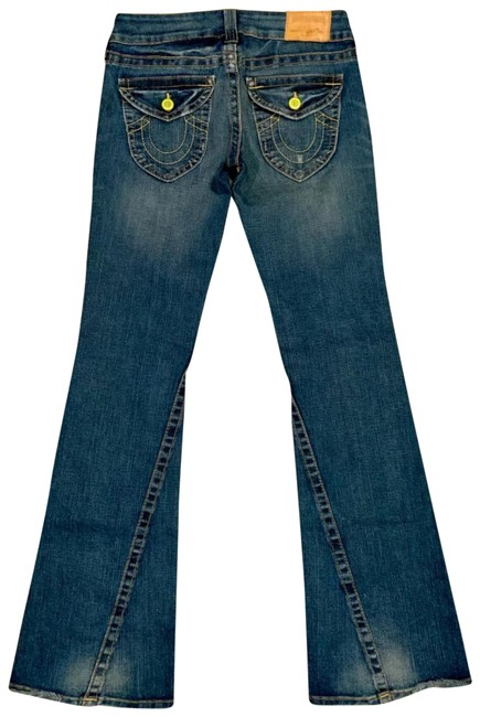 Item - Blue Joey Factory Distressed Low Rise Twisted Flare Leg Jeans Size 6 (S, 28)
