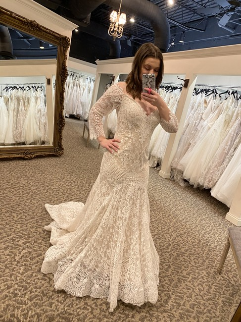 Item - Champagne/Ivory/Nude Lace 9551 Traditional Wedding Dress Size 16 (XL, Plus 0x)