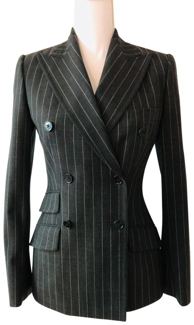 Item - Gray and White Dolce % Gabbana Double Breasted Striped Blazer Size 2 (XS)