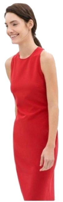 Item - Red Bodycon Midi Cutout Back Mid-length Cocktail Dress Size 8 (M)