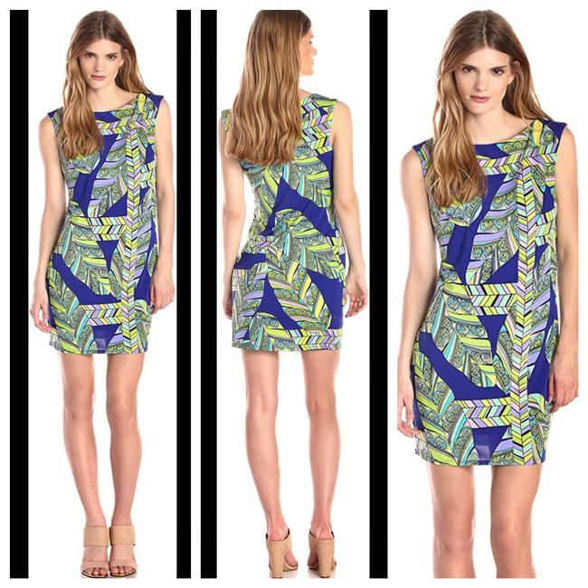 Item - Blue Lasi Mod Shift Banana Leaf Print Short Casual Dress Size 6 (S)