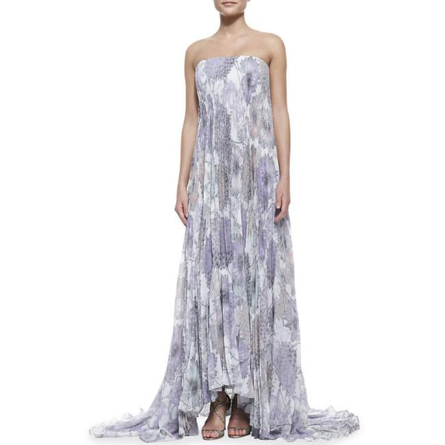 Item - Purple Grey White Print Georgette Gown By Collection Long Formal Dress Size 4 (S)